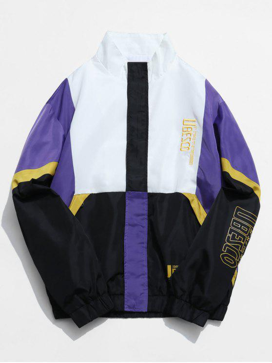 unique Letter Embroidery Color Block Splicing Jacket - WHITE 3XL