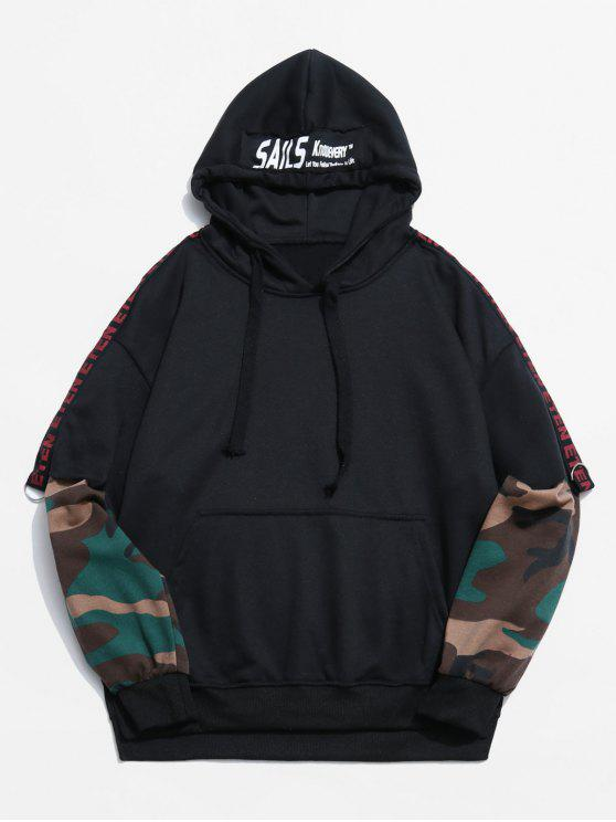 0c8dbe6b 31% OFF] 2019 Camouflage Pattern False Two Piece Hoodie In BLACK | ZAFUL