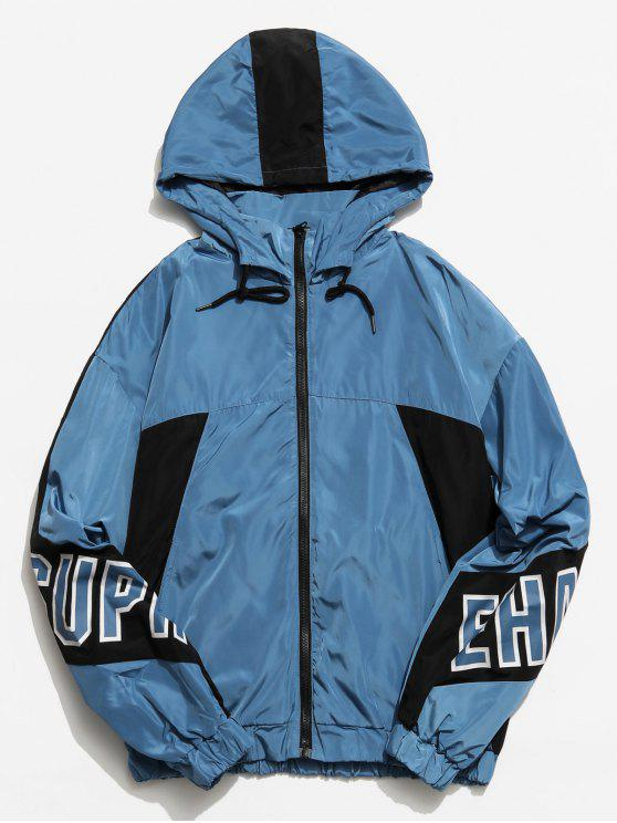 fashion Graphic Color Block Hooded Jacket - BLUE L