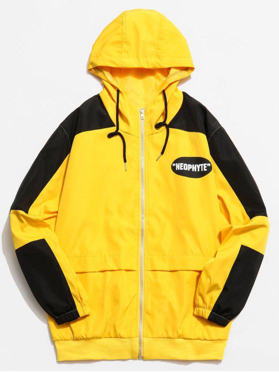 shop Graphic Color Block Zip Hooded Jacket - YELLOW 2XL