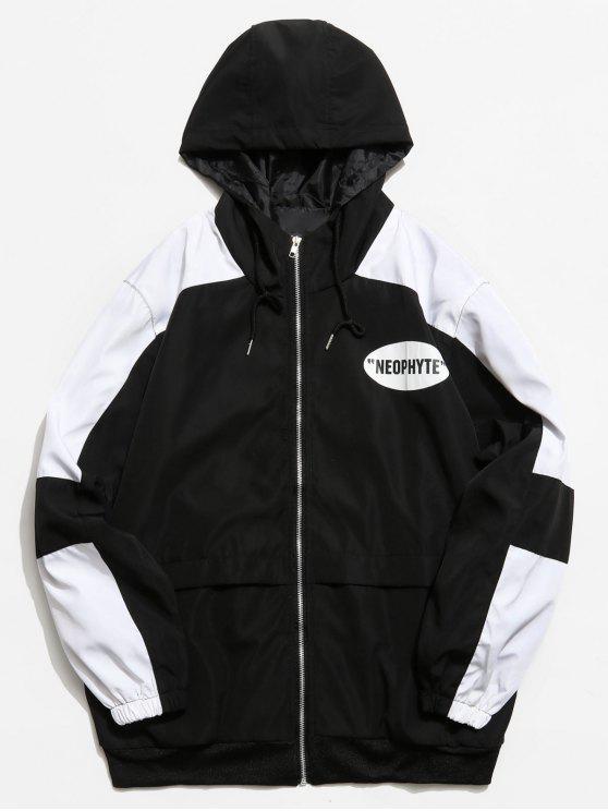 womens Graphic Color Block Zip Hooded Jacket - BLACK XL