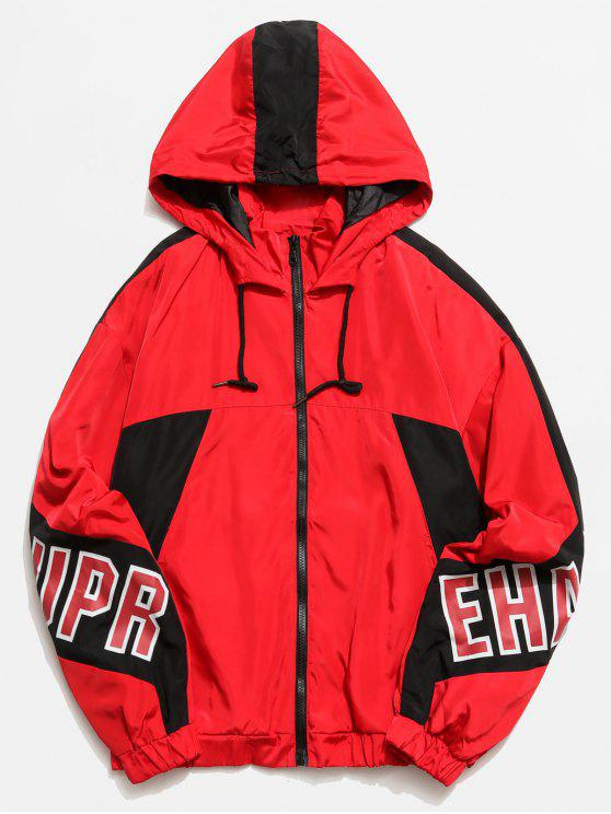 shops Graphic Color Block Hooded Jacket - RED XL