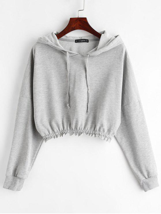 lady ZAFUL Drop Shoulder Cropped Terry Hoodie - GRAY L