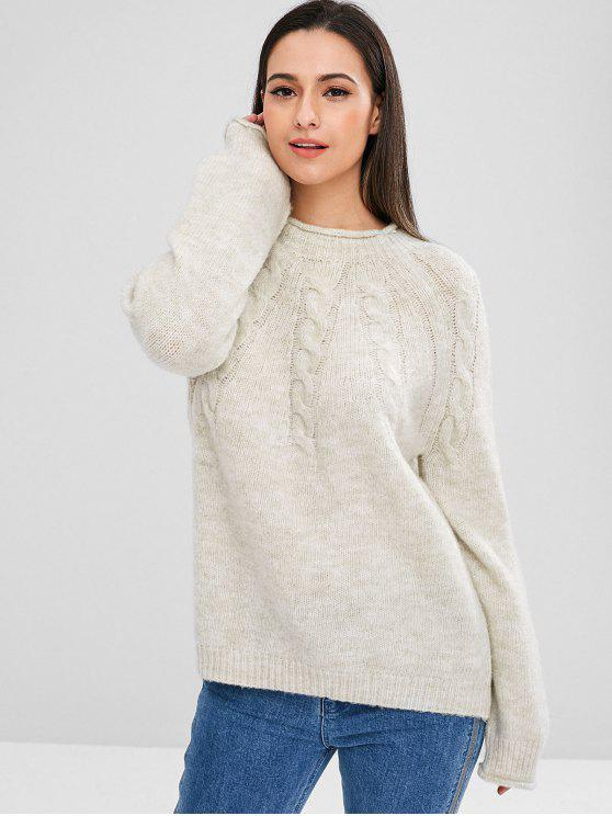hot ZAFUL Raglan Sleeve Cable Knit Sweater - COOL WHITE ONE SIZE