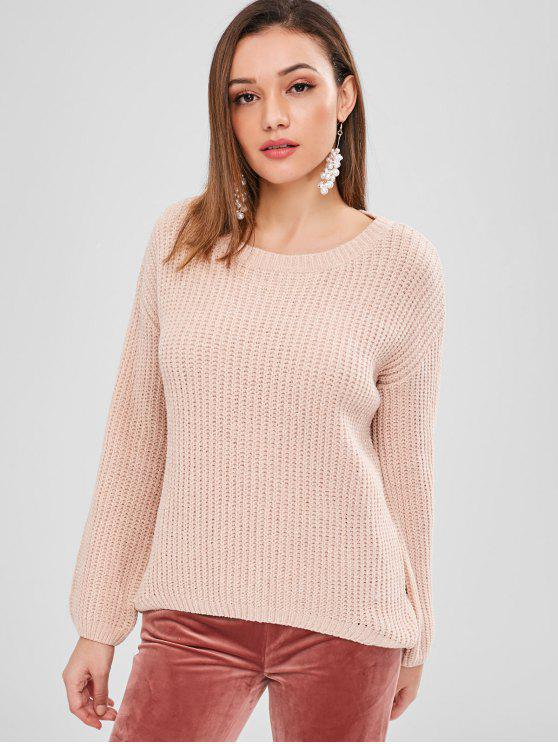 trendy ZAFUL High Low Shiny Thread Sweater - LIGHT PINK ONE SIZE