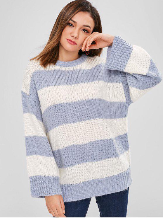 chic ZAFUL Striped Oversized Sweater - BLUE GRAY ONE SIZE