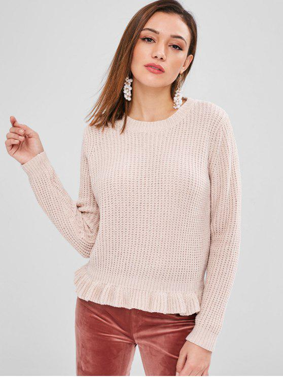womens ZAFUL Shiny Thread Ruffles Sweater - LIGHT PINK ONE SIZE