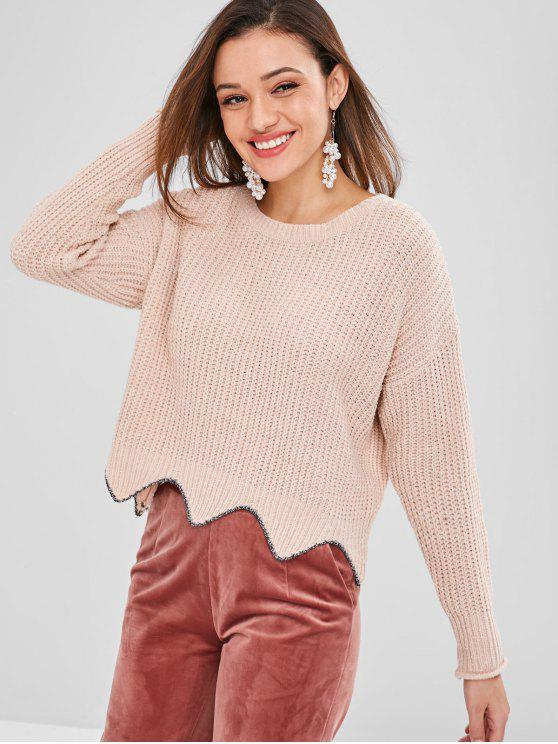 womens ZAFUL Shiny Scalloped Sweater - LIGHT PINK ONE SIZE
