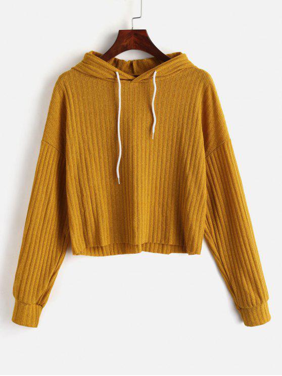 unique Drop Shoulder Hooded Crop Sweater - ORANGE GOLD M