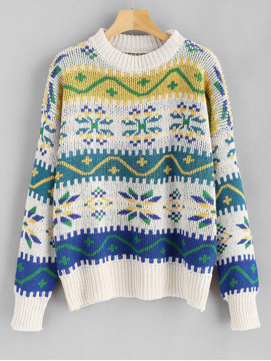 Rundhalsausschnitt Weihnachten Schneeflocke Graphic Sweater - Multi Eine Größe