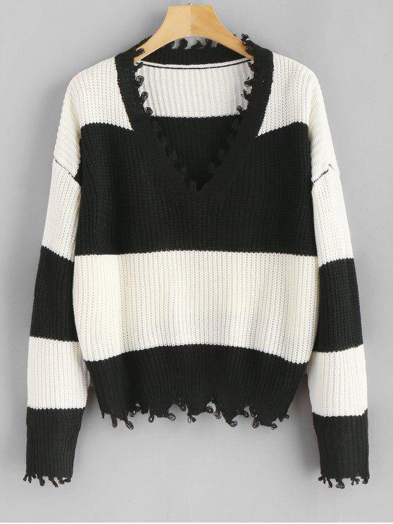 Pullover mit V-Ausschnitt, ausgefranste Streifen - Multi Eine Größe