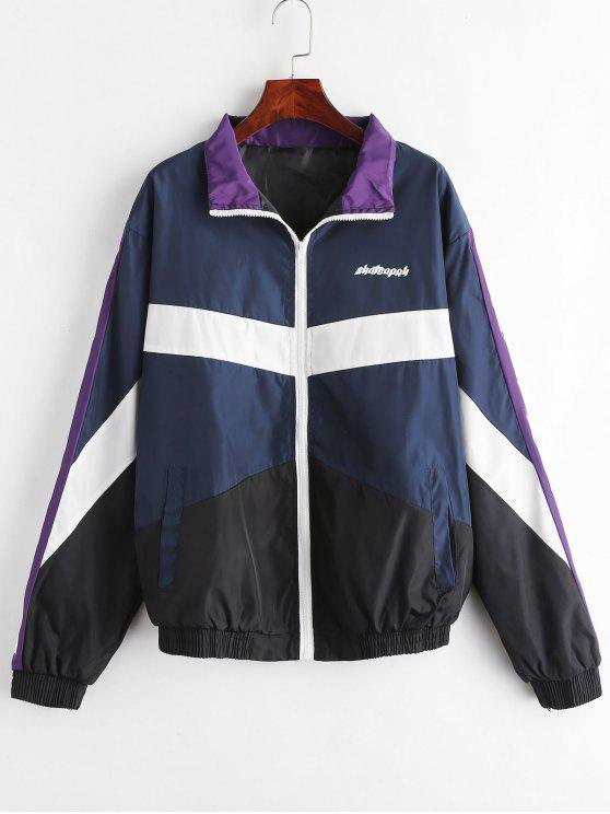 women Zip Up Graphic Windbreaker Jacket - MULTI XL