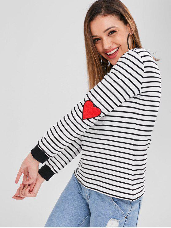 fancy ZAFUL Heart Stripes Valentine Sweatshirt - WHITE S