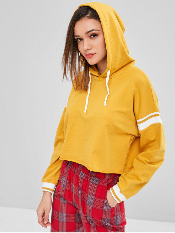 outfit ZAFUL Raw Hem Stripes Panel Hoodie - BEE YELLOW S