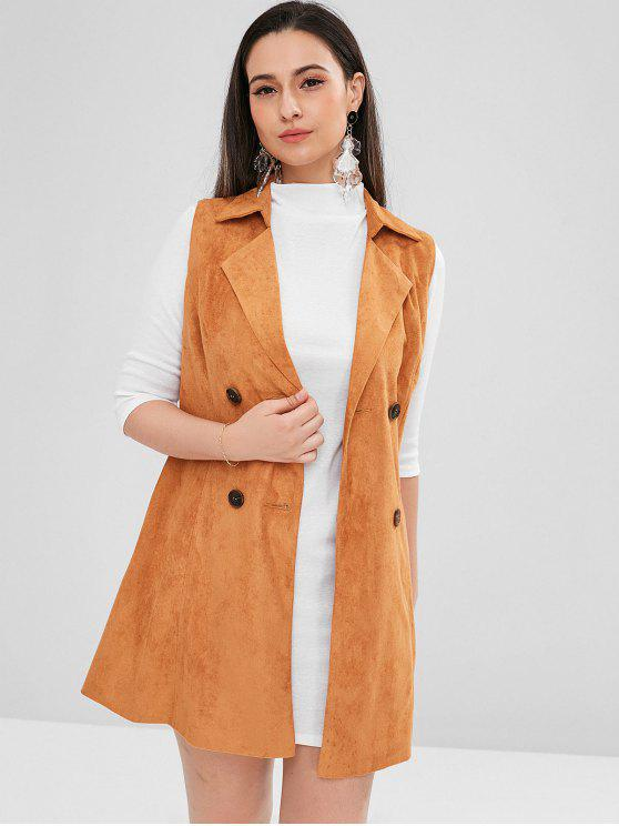women ZAFUL Double Breasted Faux Suede Waistcoat - CARAMEL S