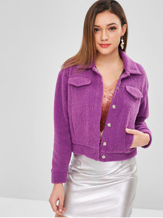 shops ZAFUL Snap Button Faux Shearling Teddy Coat - VIOLET M