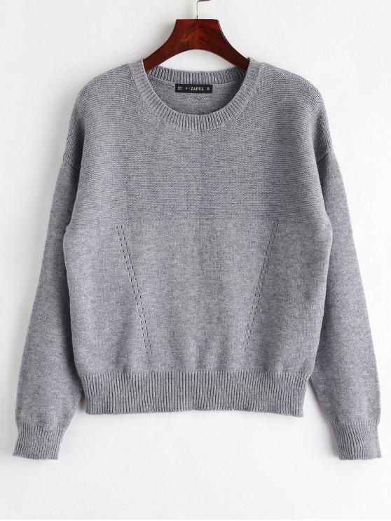 buy ZAFUL Marl Plain Sweater - GRAY ONE SIZE
