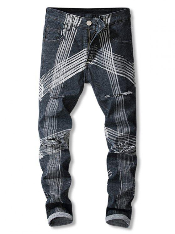latest Destroyed Straight Leg Striped Jeans - BLACK 40