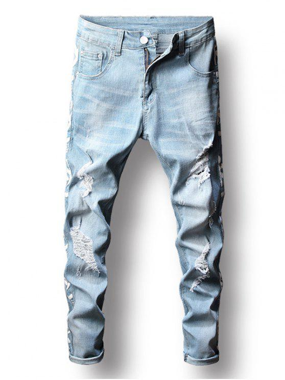 buy Zip Fly Distressed Letter Printed Jeans - JEANS BLUE 32