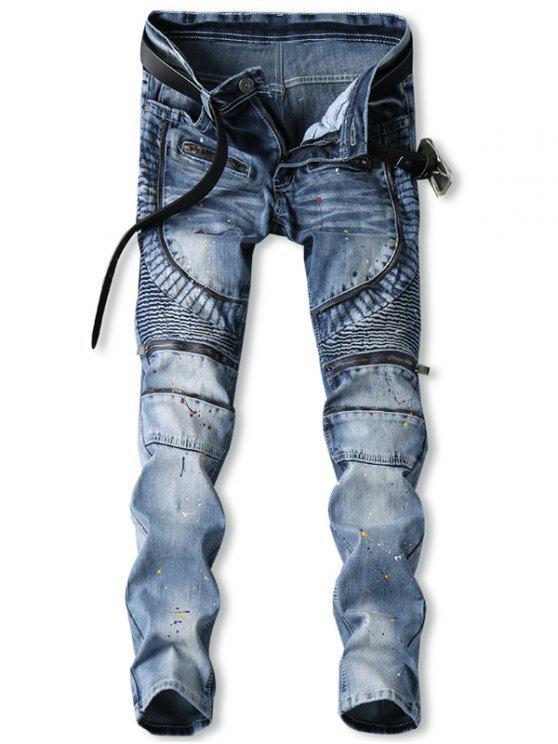 online Zip Fly Splatter Paint Biker Jeans - JEANS BLUE 38