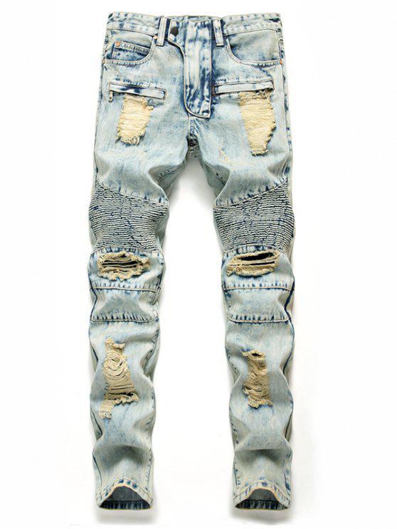 fashion Zip Fly Destroyed Biker Jeans - BABY BLUE 38