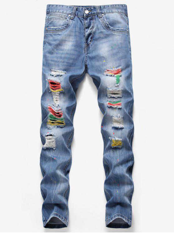 affordable Destroyed Colorful Splashed Paint Jeans - DENIM BLUE 34