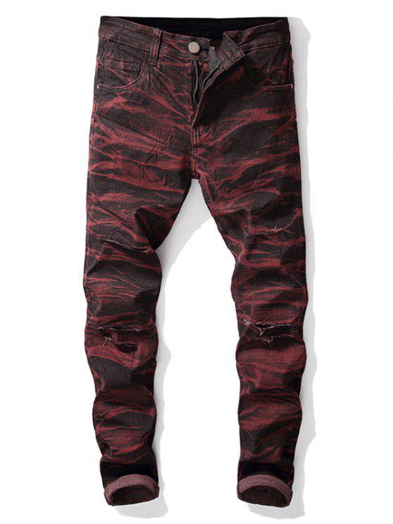 online Destroyed Straight Leg Tie-dye Jeans - FIREBRICK 32