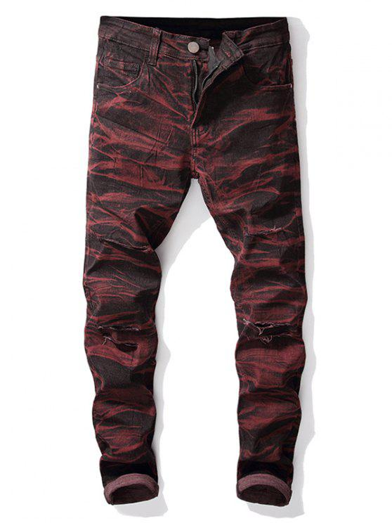 outfits Destroyed Straight Leg Tie-dye Jeans - FIREBRICK 40