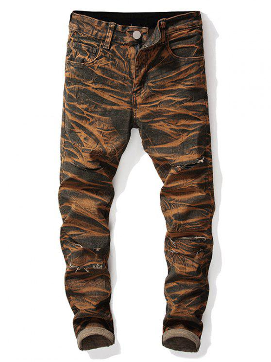 fashion Destroyed Straight Leg Tie-dye Jeans - ORANGE SALMON 40