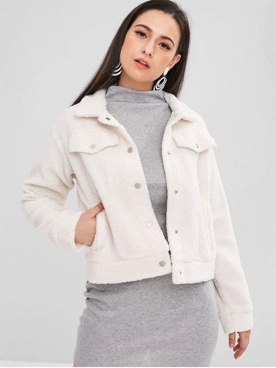 lady ZAFUL Press Stud Fluffy Faux Fur Short Coat - WARM WHITE S