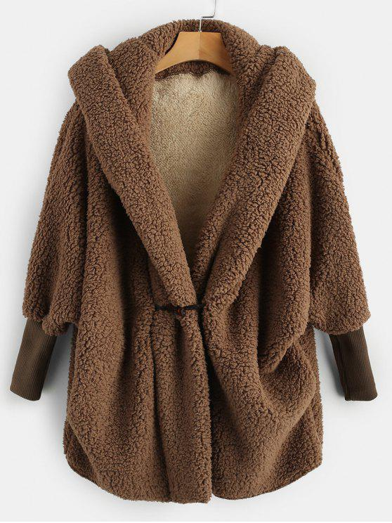 online Oversized Fluffy Teddy Winter Coat - COFFEE ONE SIZE