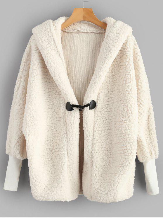 hot Batwing Sleeve Faux Shearling Teddy Winter Coat - WHITE L
