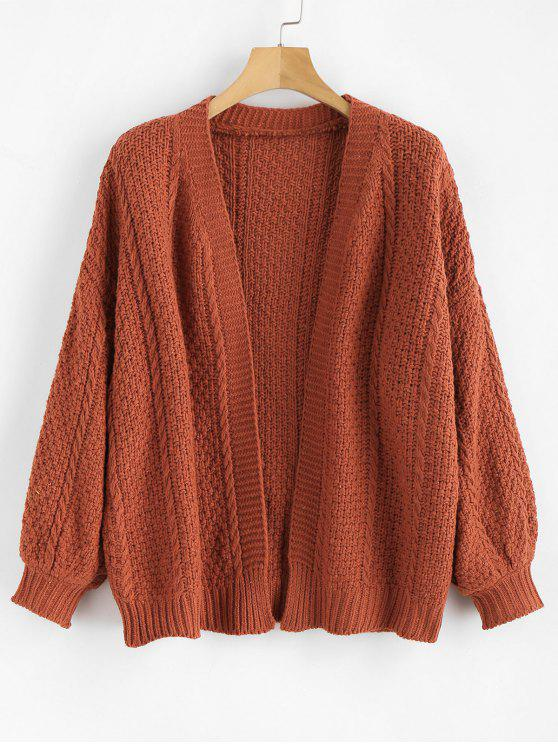 fancy Lantern Sleeves Chunky Cardigan - CHESTNUT RED ONE SIZE