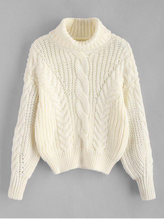 fashion Turtleneck Chunky Cable Knitted Sweater - WARM WHITE ONE SIZE