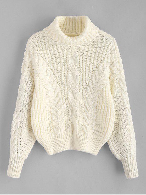 Suéter tejido de punto grueso con cuello alto - Blanco Cálido Única Talla
