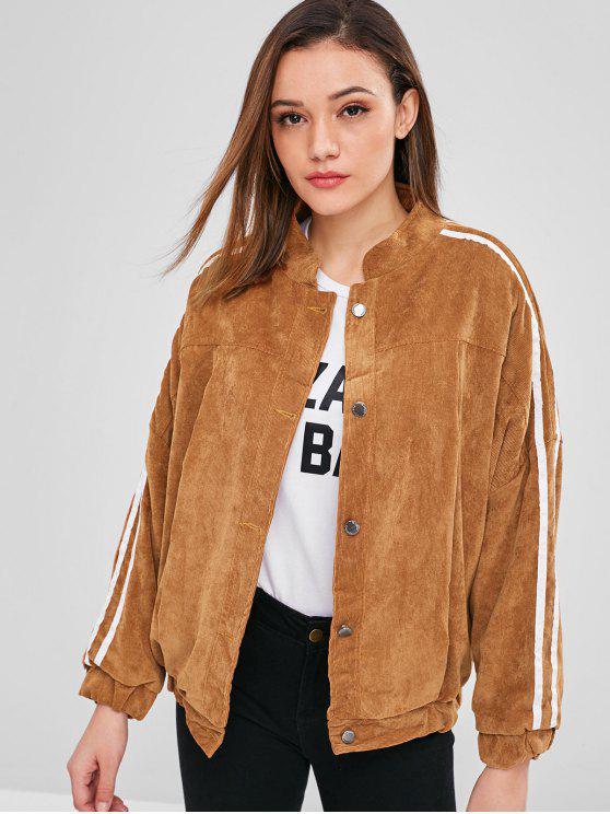 Veste en velours côtelé doublée de fausse fourrure - Brun Taille Unique