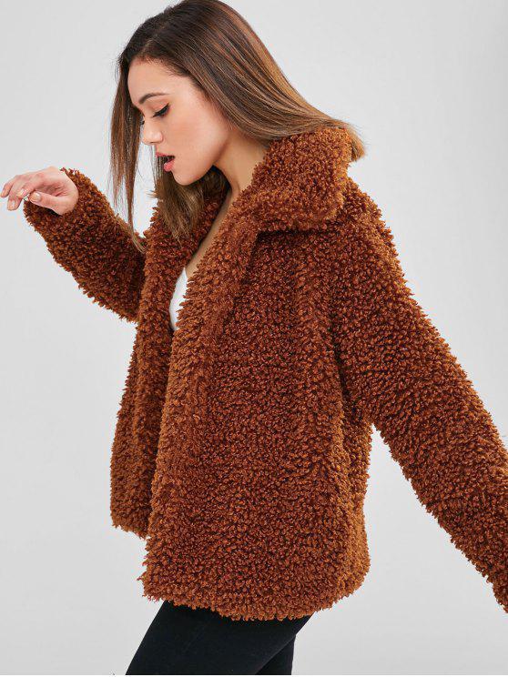 new ZAFUL Faux Fur Fluffy Textured Winter Coat - BROWN XL