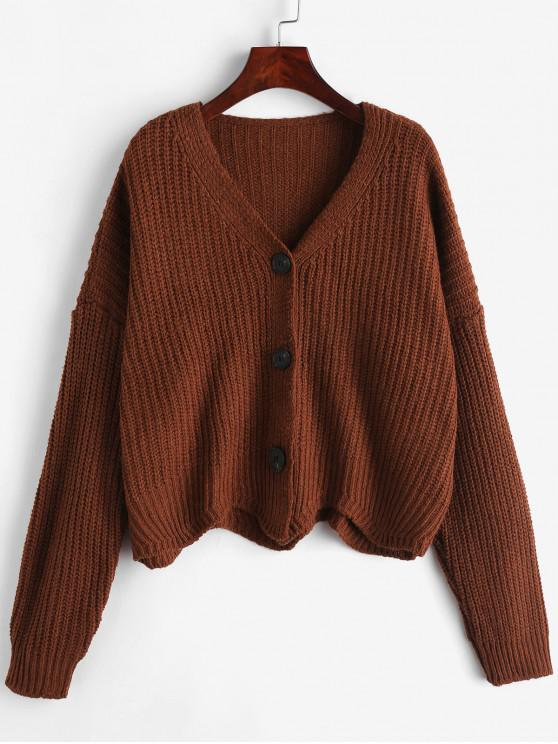 women Scalloped Chunky Cardigan - SEPIA ONE SIZE