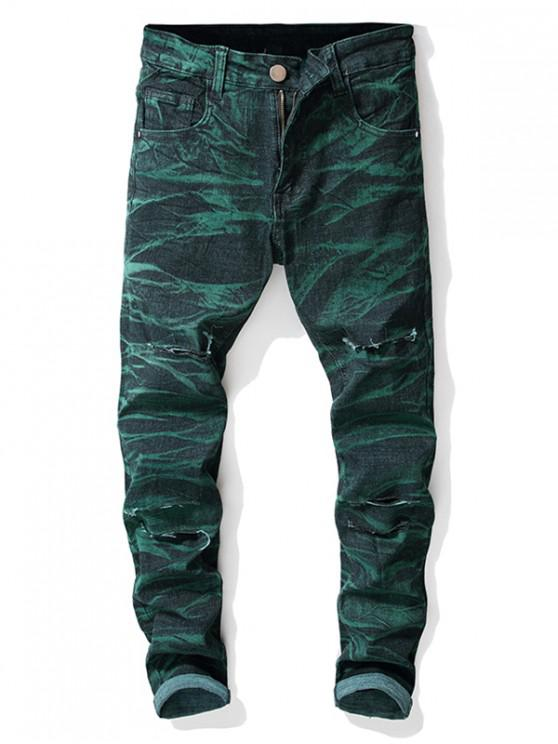 best Destroyed Straight Leg Tie-dye Jeans - DARK FOREST GREEN 40