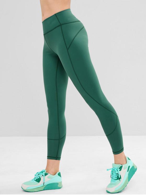 unique Stitching Wide Waistband Sports Leggings - SEA GREEN L