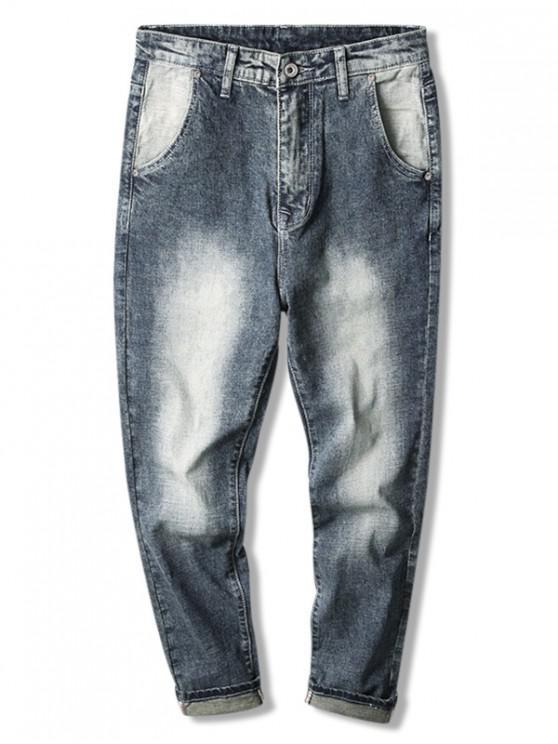 Verblasste Wash Zip-Denim-Hosen - Blau 38