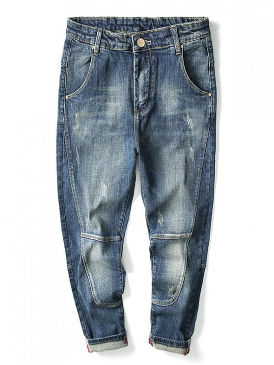ladies Ripped Light Wash Cuffed Jeans - BLUE 40