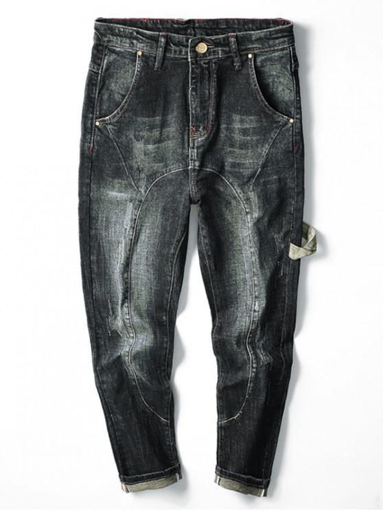 ladies Strap Design Light Wash Denim Pants - BLUE 36