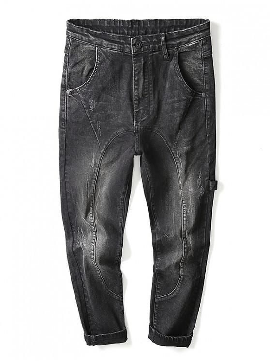 Zip Fly Strap Design Jeans - Schwarz 38