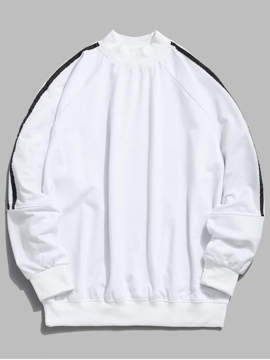 best Raglan Sleeve Stripe Sweatshirt - WHITE XL
