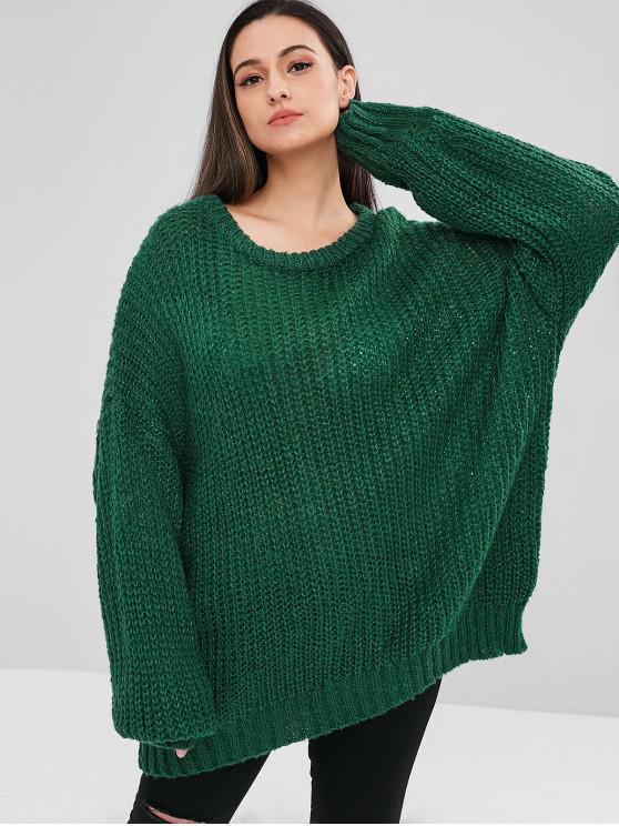 ladies ZAFUL Oversized Chunky Sweater - MEDIUM SEA GREEN ONE SIZE