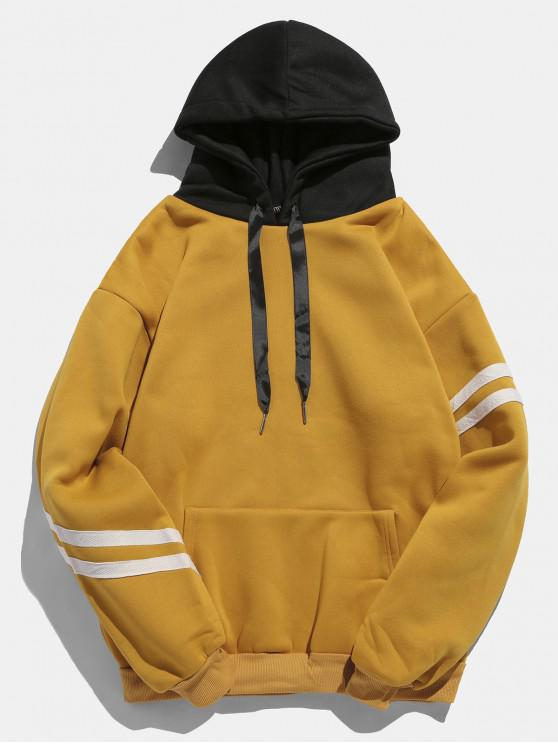 lady Kangaroo Pocket Fleece Pullover Hoodie - ORANGE GOLD XL