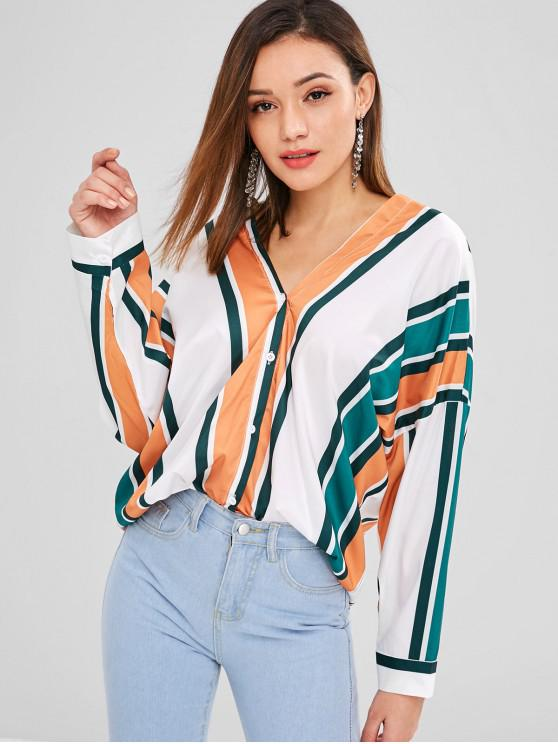 women's Striped Button Up Oversized Top - MULTI L