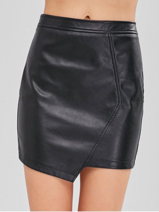 fashion ZAFUL Faux Leather Asymmetric Skirt - BLACK M