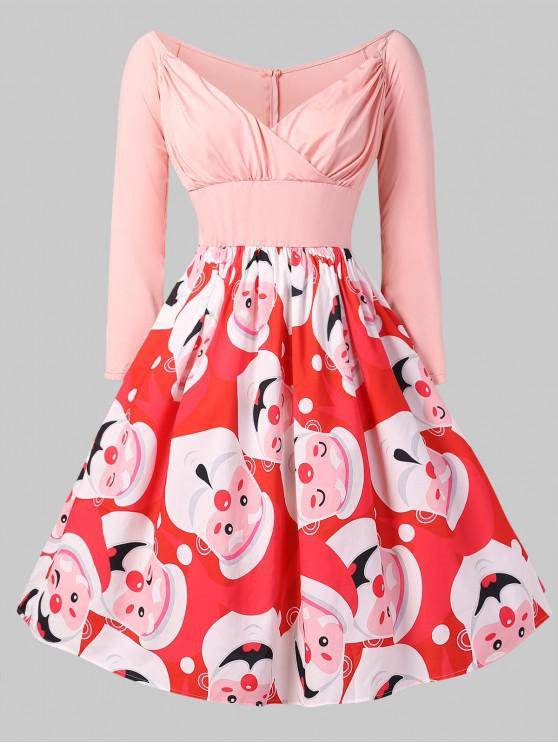 trendy Christmas Santa Clause Print Fit and Flare Dress - PINK L